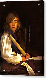 Young Lad In Window Acrylic Print by John Rivera