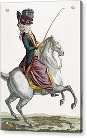 Young Lady Riding A Horse, Engraved Acrylic Print by Pierre Thomas Le Clerc