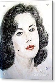 Acrylic Print featuring the drawing Young Liz Taylor Portrait by Jim Fitzpatrick