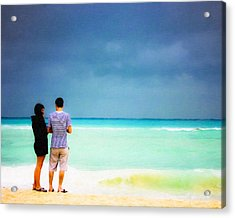 Young Love And The Stormy Sea Acrylic Print by Mark E Tisdale