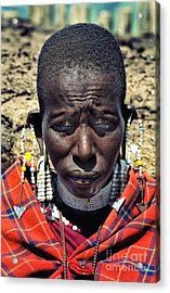 Acrylic Print featuring the photograph Portrait Of Young Maasai Woman At Ngorongoro Conservation Tanzania by Amyn Nasser