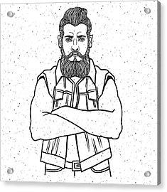 Young Man Bearded Biker. Hand Drawing Acrylic Print