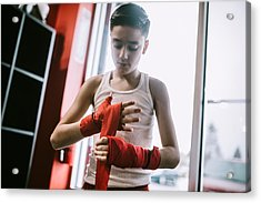 Young Man In Kickboxing Training Center Acrylic Print by RyanJLane