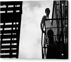 Young Man On Fire Escape Acrylic Print