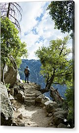 Young Man On Stairs Acrylic Print by Vwpics - Roberto Lopez