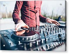 Young Man Using Mixing Desk At Roof Party, Mid Section, Close-up Acrylic Print by Eugenio Marongiu