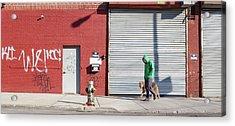 Young Man Walks Dog Acrylic Print by Alex Potemkin