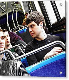 Young Men On The M4 Bus Acrylic Print by Sarah Loft