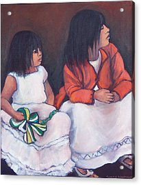 Young Mexican Girls At The Independence Parade  Acrylic Print