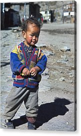 Young Nepalese Girl In Manang Acrylic Print by Richard Berry