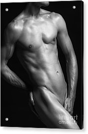 Young Nude Man Slim Fit Body Black And White Acrylic Print