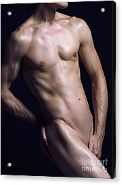 Young Nude Man Slim Fit Body Acrylic Print