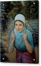 Acrylic Print featuring the painting Young Farmer by Laila Awad Jamaleldin