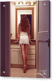 Young Sexy Woman At A Bathroom Mirror Acrylic Print