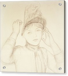 Young Woman Arranging Her Hat Acrylic Print by Pierre Auguste Renoir