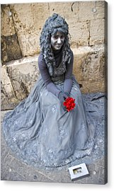 Young Woman Busker In Syracusa Sicily Acrylic Print by David Smith