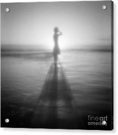 Young Woman By Pool At Sunrise Acrylic Print by Colin and Linda McKie