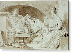 Young Woman Consulting A Necromancer Acrylic Print by Jean-Honore Fragonard