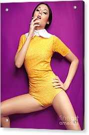 Young Woman In Bright Yellow Vintage Style Clothes Acrylic Print by Oleksiy Maksymenko