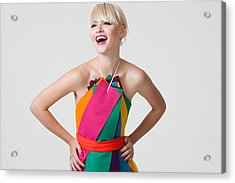 Young Woman In Dress Made Of Coloured Ribbons Acrylic Print by Image Source