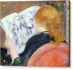 Young Woman Reading An Illustrated Journal Acrylic Print by Pierre Auguste Renoir