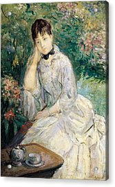 Young Woman Seated On A Sofa Acrylic Print by Berthe Morisot
