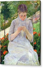 Young Woman Sewing In The Garden Acrylic Print by Mary Stevenson Cassatt