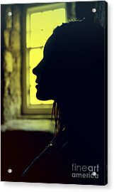 Young Woman Silhouetted Profile Acrylic Print