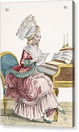 Young Woman Studying Music Acrylic Print by Pierre Thomas Le Clerc