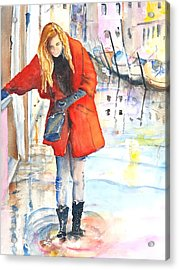 Young Woman Walking Along Venice Italy Canal Acrylic Print