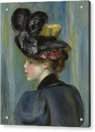 Young Woman With Black Hat Acrylic Print by Pierre Auguste Renoir