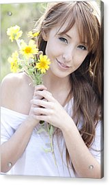 Young Woman With Flowers Acrylic Print by Brandon Tabiolo