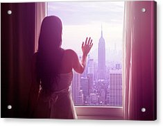 Young Woman With Hand On Window And New Acrylic Print by Flavia Morlachetti