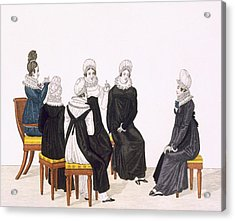 Young Women Chatting, C. 1820 Acrylic Print by French School