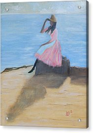 Young Women On The Beach Acrylic Print