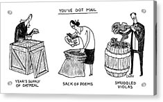 You've Got Mail -- A Triptych Of Strange Packages Acrylic Print by Tom Chitty