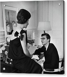 Yves St. Laurent With His Mother Acrylic Print by Willy Rizzo