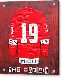 Yzerman The Captain Red Wings Hockey Jersey License Plate Art Acrylic Print by Design Turnpike