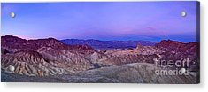 Zabriskie Sunrise Panorama - Death Valley National Park. Acrylic Print