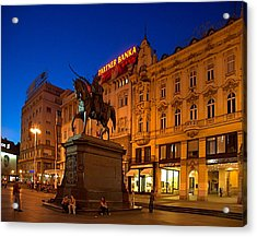 Zagreb Ban Jelacic Square At Night Acrylic Print by Steven Richman