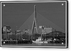 Acrylic Print featuring the photograph Zakim Bridge In Bw by Caroline Stella