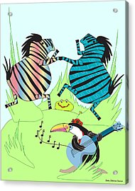 Zany Zebras Dance Acrylic Print by Chris Morningforest