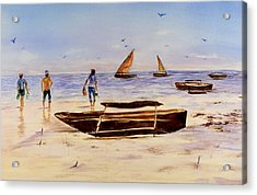 Acrylic Print featuring the painting Zanzibar Forzani Beach by Sher Nasser