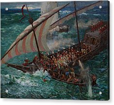 Zaporozhye Cossacks Boarded The Turkish Ship Acrylic Print by Korobkin Anatoly