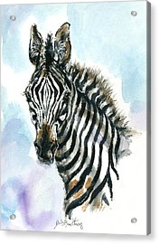 Zebra 1 Acrylic Print by Mary Armstrong