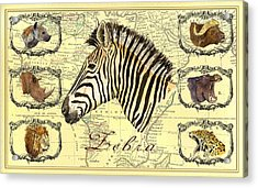 Zebra African Map Heads Acrylic Print by Juan  Bosco