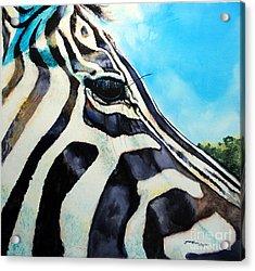 Zebra Eye Acrylic Print by Tracy Rose Moyers