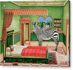 Zebra In A Bedroom, 1996 Acrylic Print by Anthony Southcombe