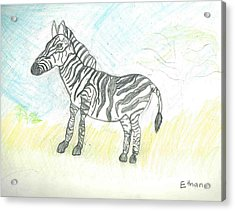 Zebra On The African Plains Acrylic Print by Ethan Chaupiz