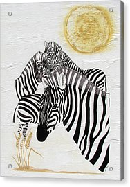Acrylic Print featuring the painting Zebra Quintet by Stephanie Grant